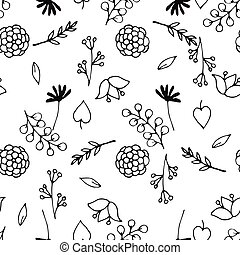Black and white seamless pattern with doodle flowers