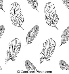 black and white seamless pattern with feathers