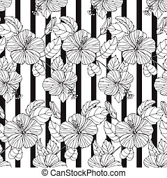 Black and white seamless pattern with flowers on a striped background