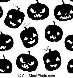 Black and white seamless pattern with pumpkins with faces and funny expressions for Halloween designs and backgrounds
