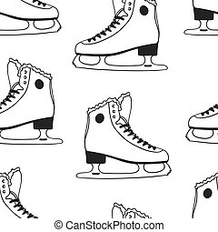 Black and white Seamless pattern with racing skates. Hand drawn fashion illustration. Creative ink art work. Actual Winter cozy vector background Ice Skating