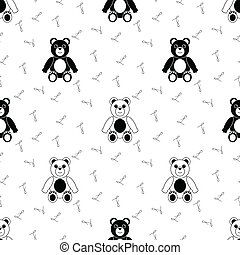 Black and White Seamless Pattern with Teddy Bear