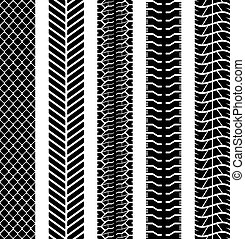 Black and white seamless truck tyre tracks template. - Black...