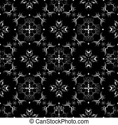 Black and white seamless wallpaper pattern - Ornate texture...
