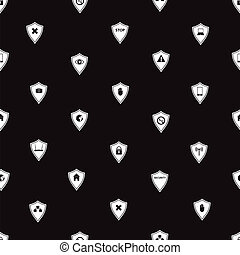 black and white security shields pattern eps10