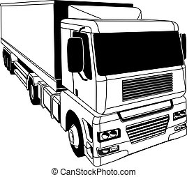 Black and white semi truck - A black and white illustration...