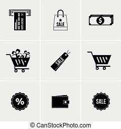 Black and white set of icons