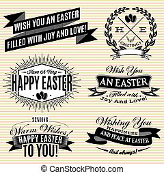 Black and white set of labels on Easter