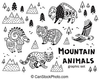 Black and white set of mountain animals