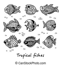 Black and white set of tropical fishes. Vector illustration