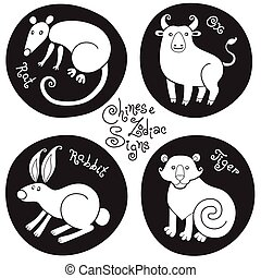 Black and white set signs of the Chinese zodiac.