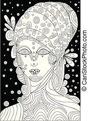 Black and white, shaman, surreal face girl. Vector illustration fantastic character