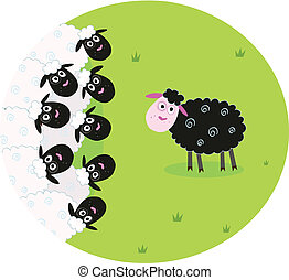 Black and white sheep - Stylized vector illustration of...