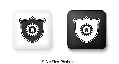 Black and white Shield with gear icon isolated on white background. Square button. Vector