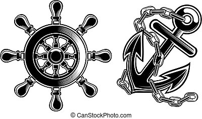 black and white ship steering wheel and anchor.