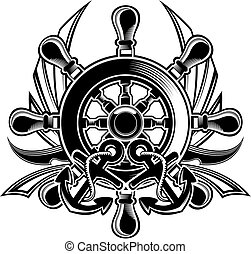 black and white ship steering wheel