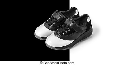 black and white shoes on white