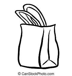 black and white shopping bag