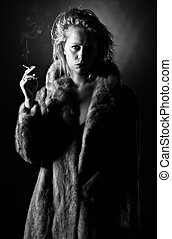 Black and White Shot of a Vintage Styled Woman Holding a Cigarette