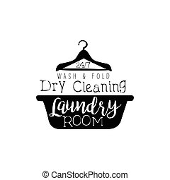 Black And White Sign For The Laundry And Dry Cleaning Service With Basin And Hanger Silhouette