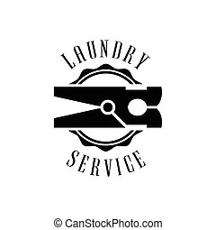 Black And White Sign For The Laundry And Dry Cleaning Service With Clothes Pin