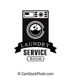 Black And White Sign For The Laundry And Dry Cleaning Service With Dark Color Washing Machine