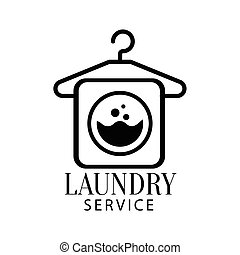 Black And White Sign For The Laundry And Dry Cleaning Service With Hanger And Washing Machine Symbol