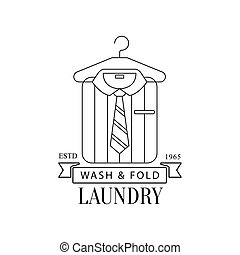 Black And White Sign For The Laundry And Dry Cleaning Service With Hanging Folded Stripy Shirt And Tie