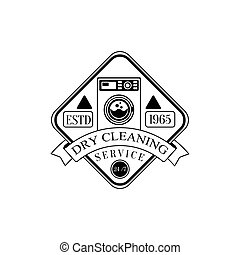 Black And White Sign For The Laundry And Dry Cleaning Service With Washing Machine In Square Frame