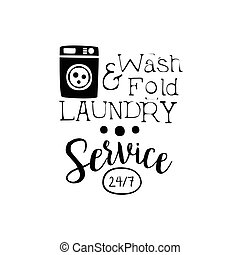 Black And White Sign For The Laundry And Dry Cleaning Service With Washing Machine Silhouette