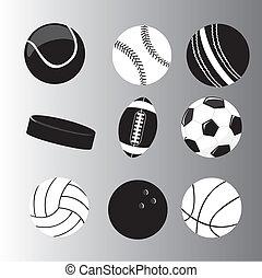 silhouette balls vector - black and white silhouette balls...
