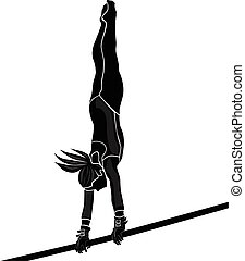girl athlete gymnast - black and white silhouette girl...