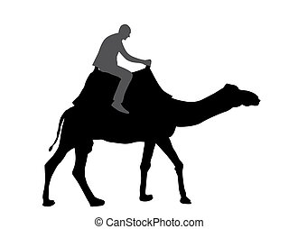 Black and White Silhouette of a Camel with a Bedouin. Vector Illustration.