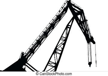 crane - black and white silhouette of a crane