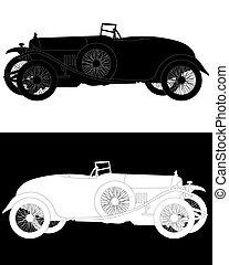 black and white silhouette of a retro car