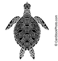 Black and white silhouette of a sea turtle top view. The object is separate from the background.