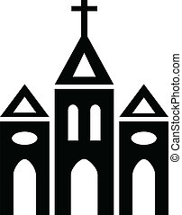 Black and white silhouette of Catholic Church