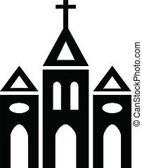 Church - Black and white silhouette of Catholic Church