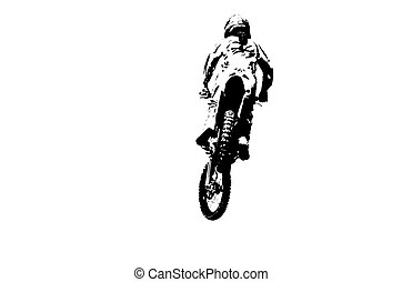 Black and white silhouette of dirt bike rider.