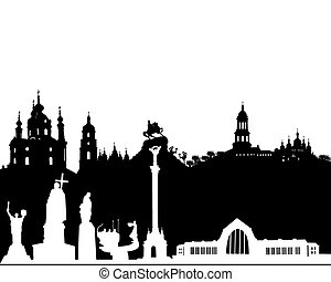 black and white silhouette of Kyiv on a white background