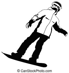 Black-and-white silhouette of the snowboarder going down the hill - vector
