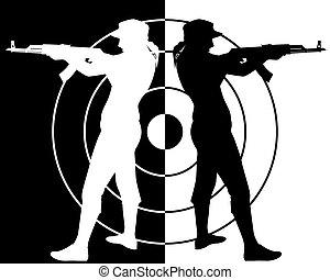 black and white silhouette of the Kalashnikov assault rifle shooter