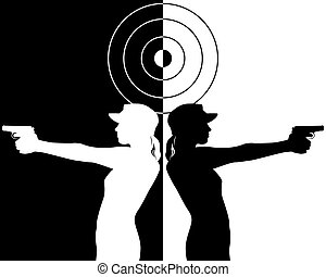 black and white silhouettes of a pistol shooter