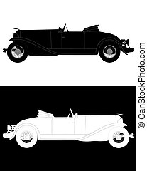 silhouettes of an old convertible
