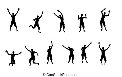 Black and white silhouettes of jumping happy and joyful people. Vector Illustration
