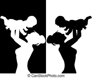 mother and child - black and white silhouettes of mother and...