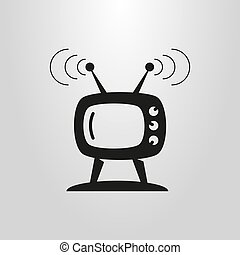 simple flat art vector symbol of retro TV set