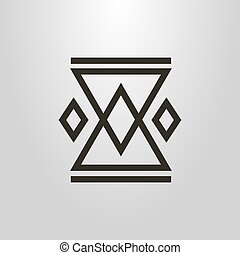 simple geometric vector line art symbol of the element of folk ornament