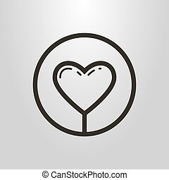 simple line art symbol of heart in a round frame - black and...