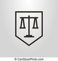 simple line art vector geometric symbol of weights on the shield